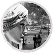 Round Beach Towel featuring the photograph All Dressed Up And No Place To Go - B W by Chuck Staley