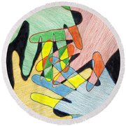 Round Beach Towel featuring the mixed media All In by Jean Haynes