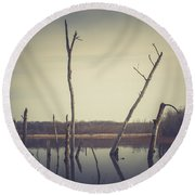 Round Beach Towel featuring the photograph All Is Calm At Green Bottom by Shane Holsclaw