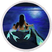 Round Beach Towel featuring the painting All My Adorable Girls by Leslie Allen