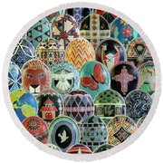 All Ostrich Eggs Collage Round Beach Towel