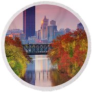 All Pittsburgh Pink  Round Beach Towel