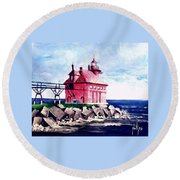Round Beach Towel featuring the painting All Red by Jim Phillips