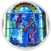 All Saints' Stained Glass Round Beach Towel