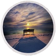 Round Beach Towel featuring the photograph All Shadows Chase Swift by Phil Koch