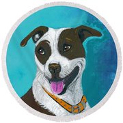 Round Beach Towel featuring the painting All Smiles Digitized by Ania M Milo