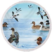 All Sorts Of Ducks Round Beach Towel