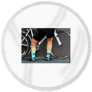 Round Beach Towel featuring the photograph All Star Cyclist by Joe Jake Pratt
