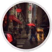 All That Jazz. New York In The Rain. Round Beach Towel