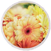Round Beach Towel featuring the photograph All The Daisies by Ana V Ramirez