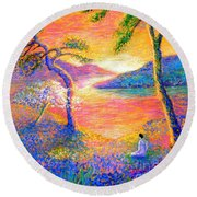 Buddha Meditation, All Things Bright And Beautiful Round Beach Towel by Jane Small