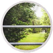 Round Beach Towel featuring the photograph All Things Green by Shelby Young