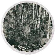 Round Beach Towel featuring the photograph All Was Tranquil by Linda Lees