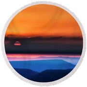 Allegheny Mountain Sunrise 2 Round Beach Towel