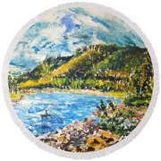 Allegheny Reservoir Round Beach Towel