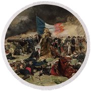 Allegory Of The Siege Of Paris Round Beach Towel