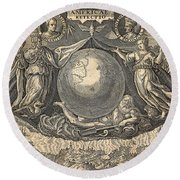 Allegory Of West Indies Or Americas, With Portraits Of Navigators Columbus And Vespucci Round Beach Towel
