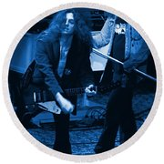 Allen Collins And Ronnie Van Zant Same Old Winterland Blues Round Beach Towel
