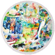 Allen Ginsberg And Bob Dylan - Watercolor Portrait Round Beach Towel by Fabrizio Cassetta