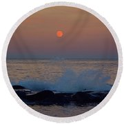 Allenhurst Beach Full Moon Rise Round Beach Towel by Raymond Salani III