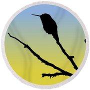 Allen's Hummingbird Silhouette At Sunrise Round Beach Towel