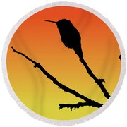 Allen's Hummingbird Silhouette At Sunset Round Beach Towel