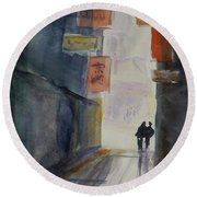 Alley In Chinatown Round Beach Towel