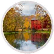 Alley Mill And Spring Round Beach Towel by Jennifer White