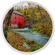 Alley Mill In Autumn Round Beach Towel