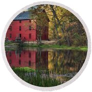 Alley Spring Mill Fall Mo Dsc09240 Round Beach Towel