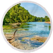 Alley Springs Scenic Bend Round Beach Towel by John M Bailey