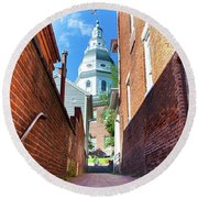 Alley View Of Maryland State House  Round Beach Towel
