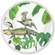 Alligator And Pelicans Round Beach Towel by Juan Bosco