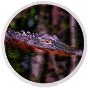 Alligator Waiting 003 Round Beach Towel