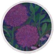 Allium And Geranium Round Beach Towel