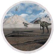 Allosaurus Dinosaurs Approach A Group Round Beach Towel