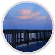 Alls Quiet On The Beach Front Round Beach Towel by Emmy Marie Vickers