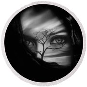 Allure Of Arabia Black Round Beach Towel by ISAW Gallery
