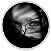 Allure Of Arabia Blue Round Beach Towel by ISAW Gallery