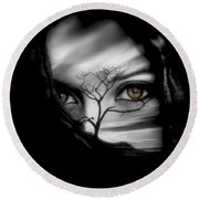 Allure Of Arabia Brown Round Beach Towel by ISAW Gallery