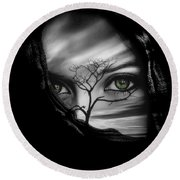Allure Of Arabia Green Round Beach Towel by ISAW Gallery