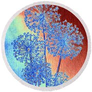 Round Beach Towel featuring the mixed media Alluring Allium Abstract by Will Borden