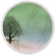 Round Beach Towel featuring the photograph Almost A Dream - Winter In Switzerland by Susanne Van Hulst