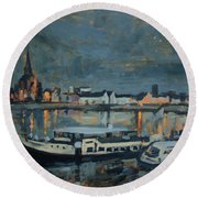 Almost Christmas In Maastricht Round Beach Towel by Nop Briex