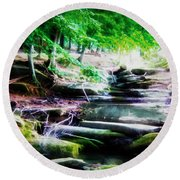 Almost Dry Creek Round Beach Towel