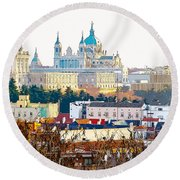 Almudena Cathedral And The Royal Palace Of Madrid Spain Round Beach Towel