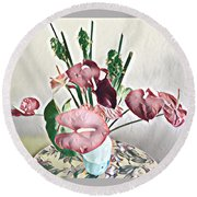 Aloha Bouquet Of The Day - Anthuriums And Green Ginger In Pale Round Beach Towel