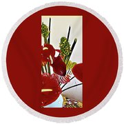 Aloha Bouquet Of The Day - Anthuriums In Darkl Red With Green Ginger - A Portion Round Beach Towel