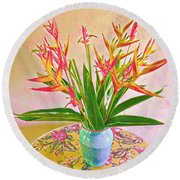Aloha Bouquet Of The Day Halyconia And Birds In Pink Round Beach Towel