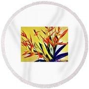 Aloha Bouquet Of The Day - Halyconia Birds In Orange Round Beach Towel